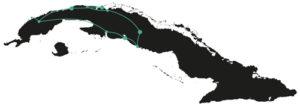Unsere Reiseroute durch Kuba.
